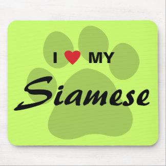 I Love Heart My Siamese Cat Pawprint Mousepad
