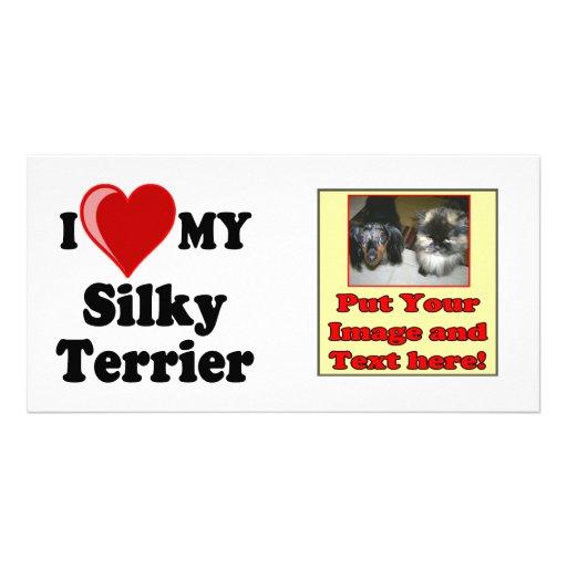 I Love (Heart) My Silky Terrier Dog Photo Greeting Card