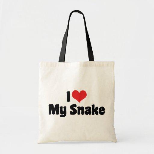 I Love Heart My Snake - Snake Lover Budget Tote Bag