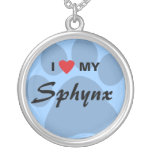 I Love (Heart) My Sphynx Pawprint Design Round Pendant Necklace