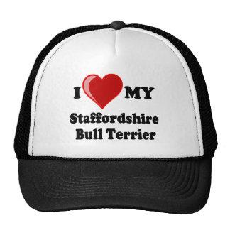 I Love (Heart) My Staffordshire Bull Dog Cap
