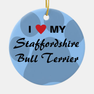 I Love (Heart) My Staffordshire Bull Terrier Double-Sided Ceramic Round Christmas Ornament