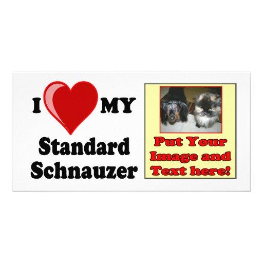 I Love (Heart) My Standard Schnauzer Dog Photo Greeting Card