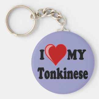 I Love (Heart) My Tonkinese Cat Basic Round Button Key Ring