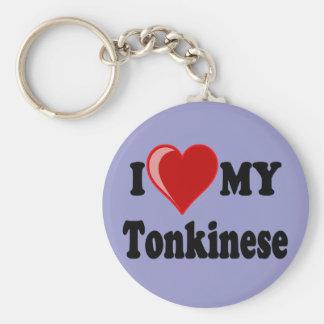 I Love (Heart) My Tonkinese Cat Basic Round Button Key Ring
