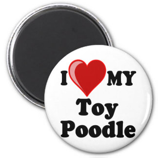 I Love (Heart) My Toy Poodle Dog 6 Cm Round Magnet
