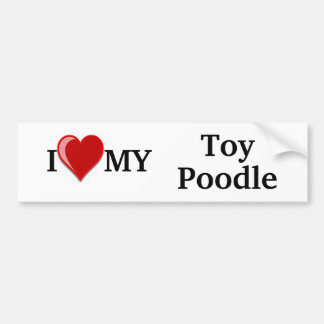 I Love (Heart) My Toy Poodle Dog Bumper Sticker
