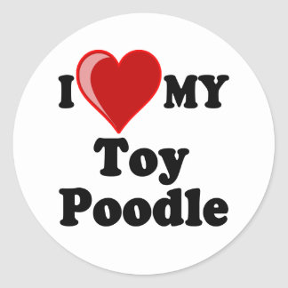 I Love Heart My Toy Poodle Dog Round Stickers
