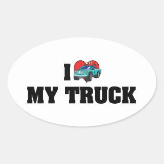 I Love Heart My Truck - Truck Lover Oval Sticker