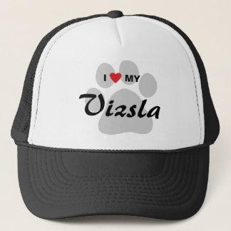 I Love (Heart) My Vizsla Pawprint Trucker Hat