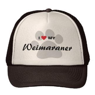 I Love (Heart) My Weimaraner Pawprint Mesh Hats