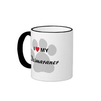 I Love (Heart) My Weimaraner Pawprint Ringer Mug