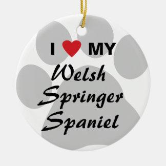 I Love (Heart) My Welsh Springer Spaniel Round Ceramic Decoration
