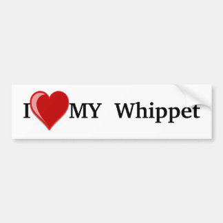 I Love (Heart) My Whippet Dog Bumper Sticker