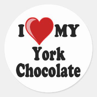 I Love (Heart) My York Chocolate Cat Round Sticker