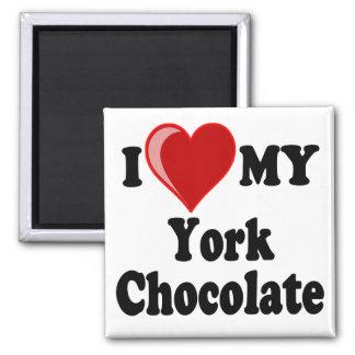 I Love (Heart) My York Chocolate Cat Square Magnet