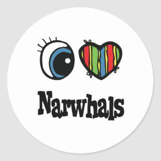 I Love (Heart) Narwhals Classic Round Sticker