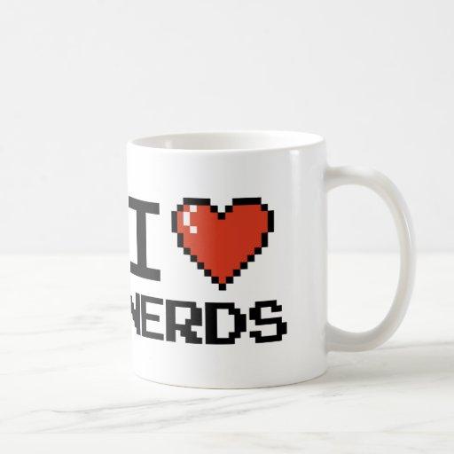 I Love Heart Nerds Basic White Mug