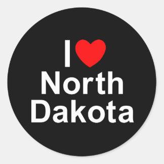 I Love (Heart) North Dakota Round Sticker