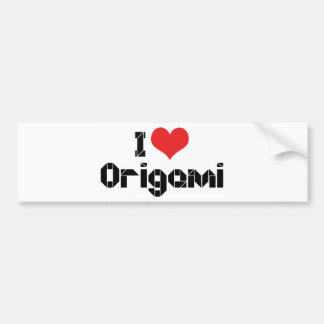 I Love Heart Origami Bumper Sticker