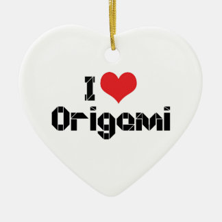 I Love Heart Origami Christmas Ornament