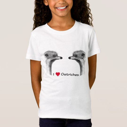 I Love (Heart) Ostriches: Pencil Drawing T-Shirt