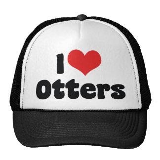 I Love Heart Otters Cap