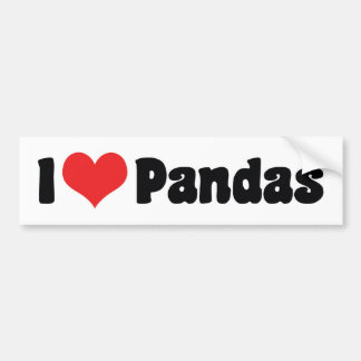 I Love Heart Pandas - Panda Lover Bumper Sticker
