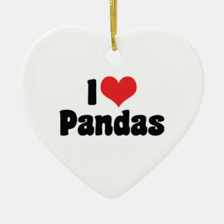 I Love Heart Pandas - Panda Lover Ceramic Heart Decoration