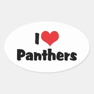 I Love Heart Panthers Oval Sticker