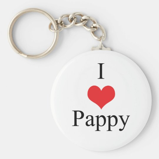 I Love (Heart) Pappy Basic Round Button Key Ring