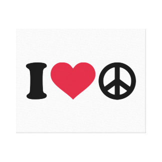 I love heart Peace Stretched Canvas Print