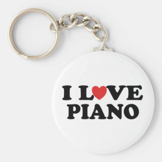 I Love Heart Piano Music Gifts Basic Round Button Key Ring