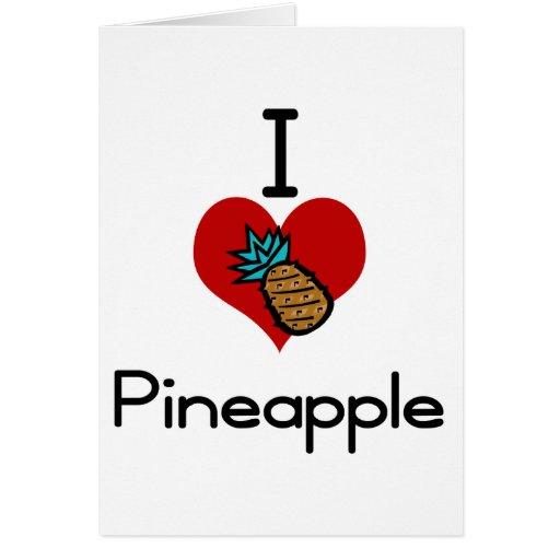 I love-heart pineapple greeting card