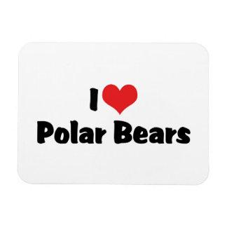 I Love Heart Polar Bears Rectangular Photo Magnet