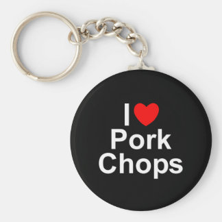 I Love (Heart) Pork Chops Basic Round Button Key Ring