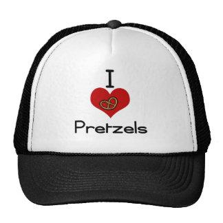 I love-heart pretzel trucker hat
