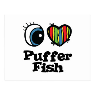 I Love (Heart) Puffer Fish Postcard