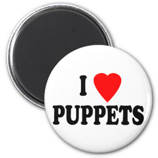 I LOVE (HEART) PUPPETS 6 CM ROUND MAGNET