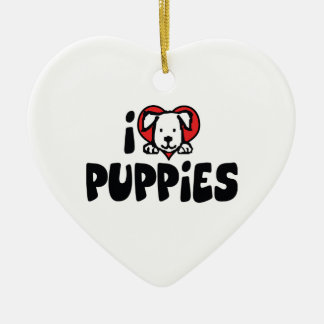 I Love Heart Puppies - Dog Lover Christmas Ornament