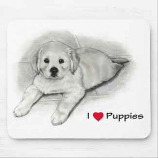 I Love (Heart) Puppies: Golden Retriever in Pencil Mouse Pad