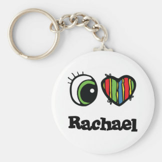 I Love (Heart) rachael Basic Round Button Key Ring