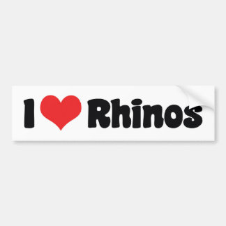 I Love Heart Rhinos - Rhinoceros Lover Bumper Sticker