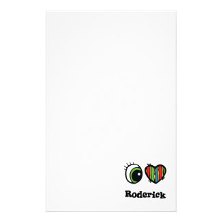 I Love (Heart) Roderick Personalised Stationery