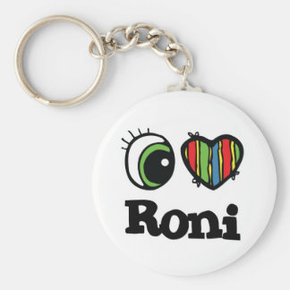 I Love (Heart) Roni Basic Round Button Key Ring