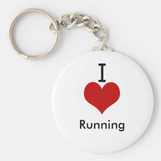 I Love (heart) Running Basic Round Button Key Ring