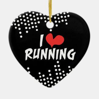 I love (heart) Running Christmas Ornament