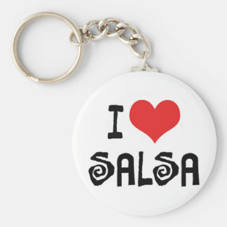I Love Heart Salsa Basic Round Button Key Ring