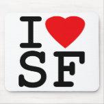 I Love Heart San Francisco Mousepads