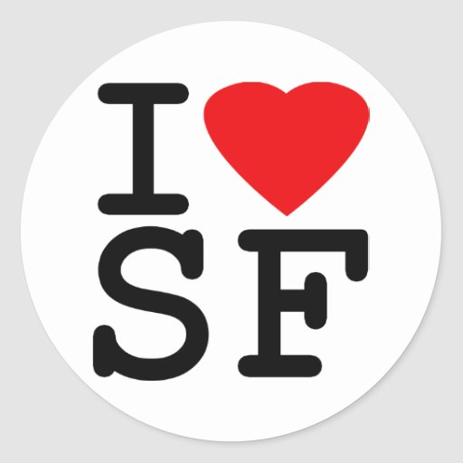 I Love Heart San Francisco Round Stickers